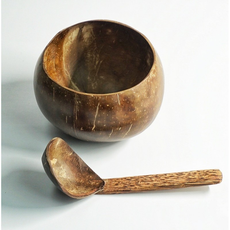 A set of 2 Coconut Shell Bowl ( Large) With 2 Coconut Shell Spoons.